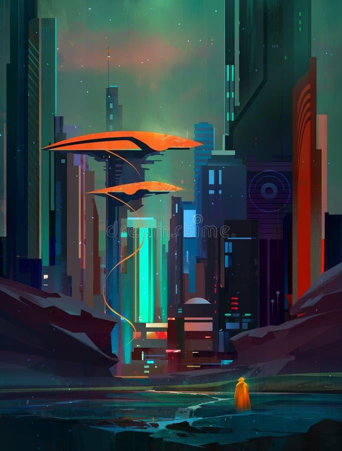 Paesaggio fantastico tirato di Cyberpunk con i grattacieli ed il viaggiatore fotografia stock