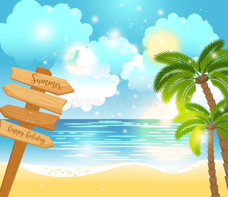 Paesaggio felice di festa di estate illustrazione di stock