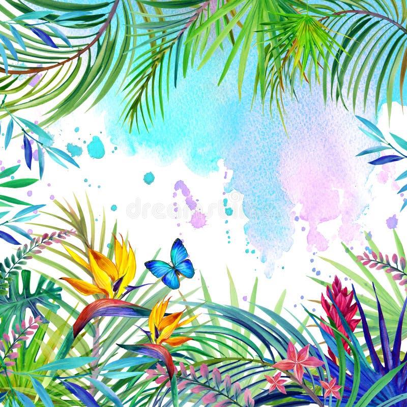 Paesaggio, foglie, fiori e farfalla tropicali della foresta illustrazione di stock