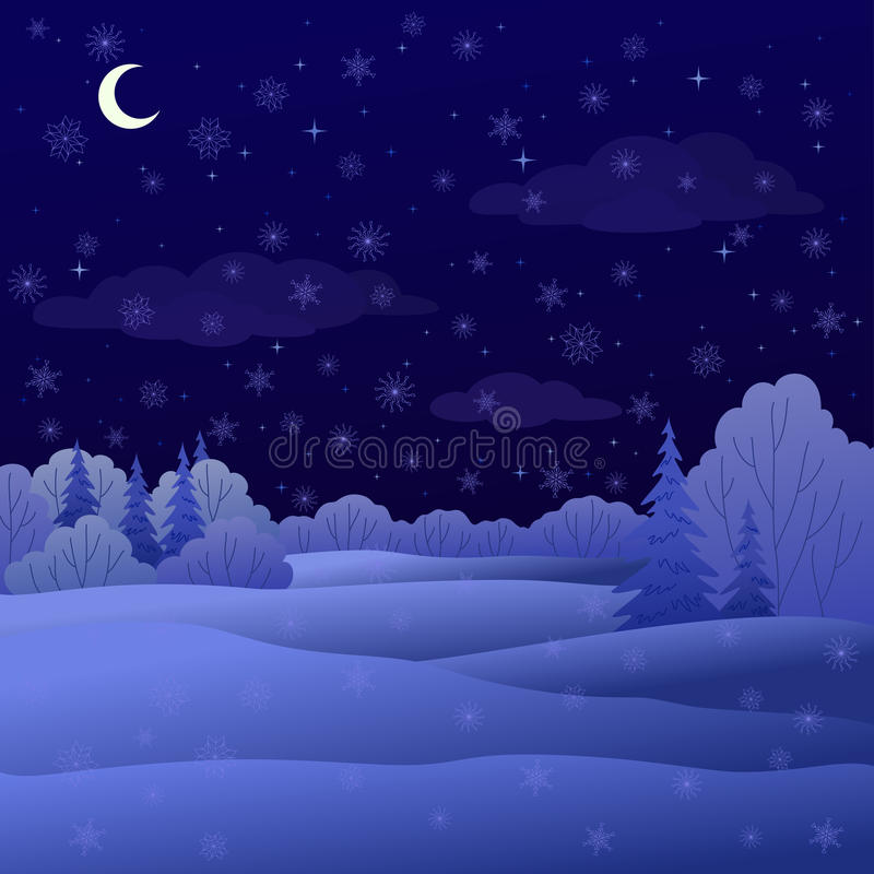 Paesaggio, foresta di inverno di notte royalty illustrazione gratis