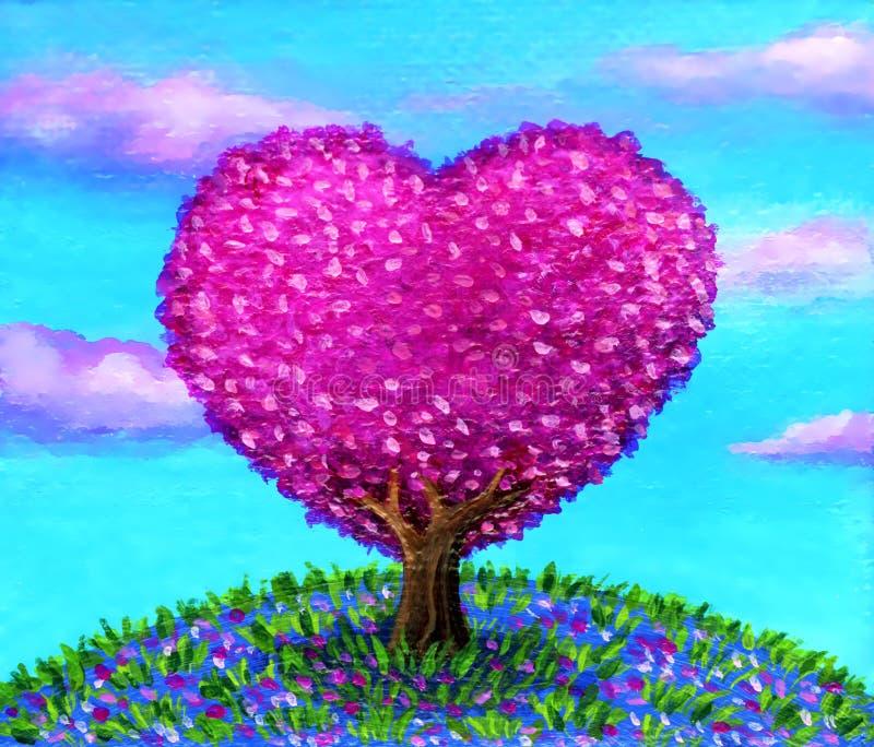Paesaggio a forma di dell'albero del cuore di rosa su fondo di cielo blu immagine stock