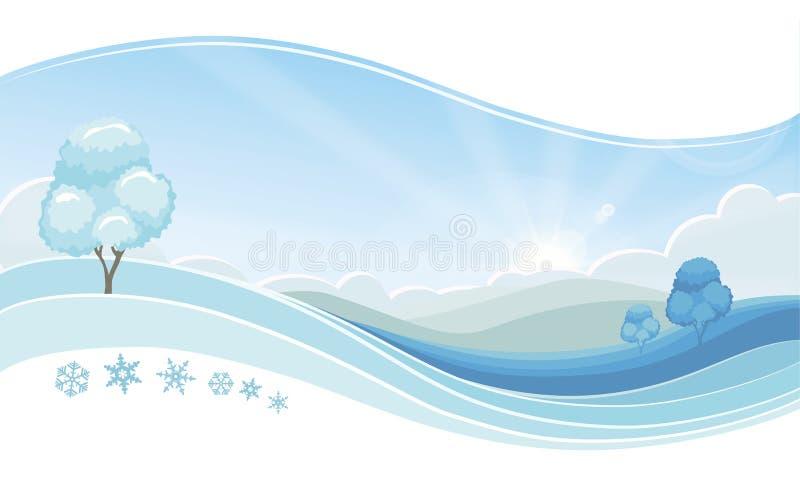 Paesaggio fresco di inverno di mattina, fondo nevoso blu di vettore royalty illustrazione gratis