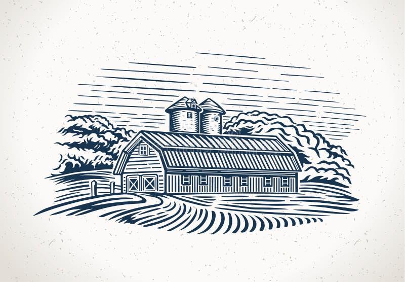 Paesaggio grafico con l'azienda agricola ed il campo illustrazione di stock