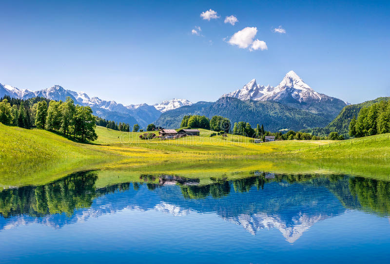 Paesaggio idilliaco di estate con il chiaro lago della montagna nelle alpi fotografia stock libera da diritti