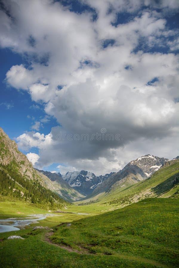 Paesaggio idilliaco di estate con la traccia di escursione nelle montagne con i bei pascoli verdi freschi della montagna e la mon fotografia stock