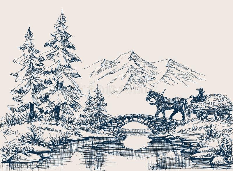 Paesaggio idilliaco rurale illustrazione di stock