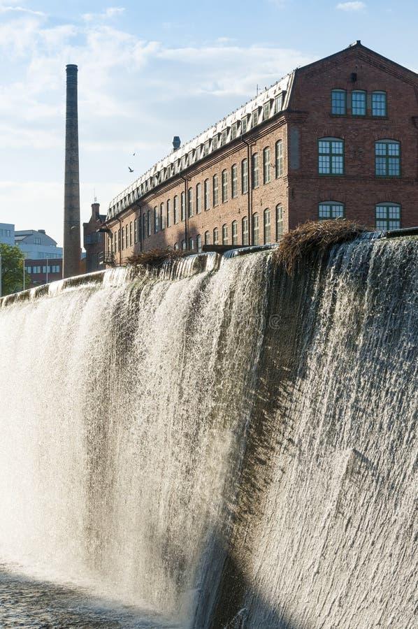 Paesaggio industriale Norrkoping della vecchia fabbrica immagine stock libera da diritti