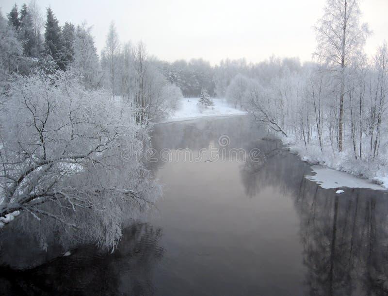 Paesaggio invernale del fiume fotografia stock libera da diritti