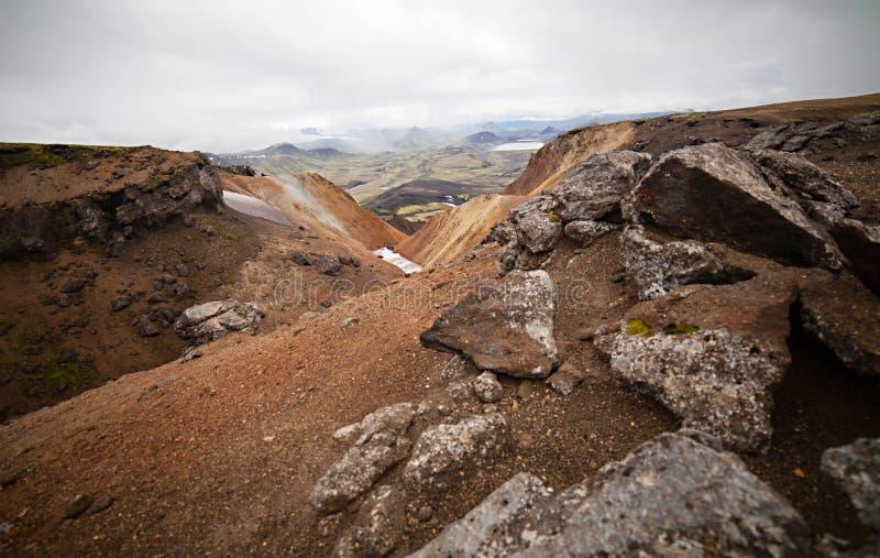 Paesaggio islandese freddo - Laugavegur, Islanda immagini stock libere da diritti