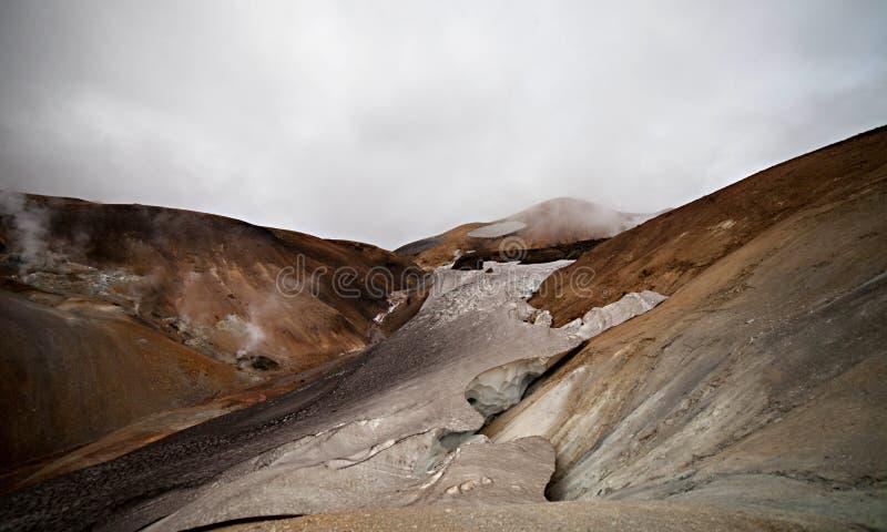 Paesaggio islandese freddo - Laugavegur, Islanda fotografia stock