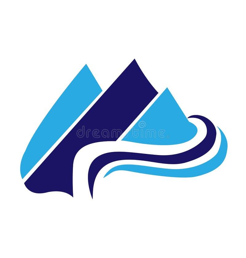 Paesaggio isolato, tono blu, vettore della montagna di logo illustrazione vettoriale