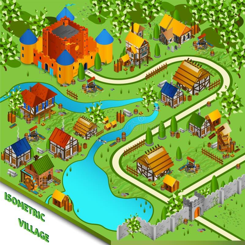 Paesaggio isometrico del villaggio medievale illustrazione di stock