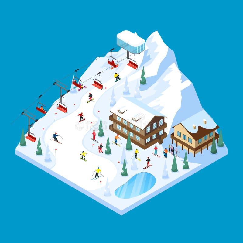 Paesaggio isometrico della montagna di corsa con gli sci royalty illustrazione gratis