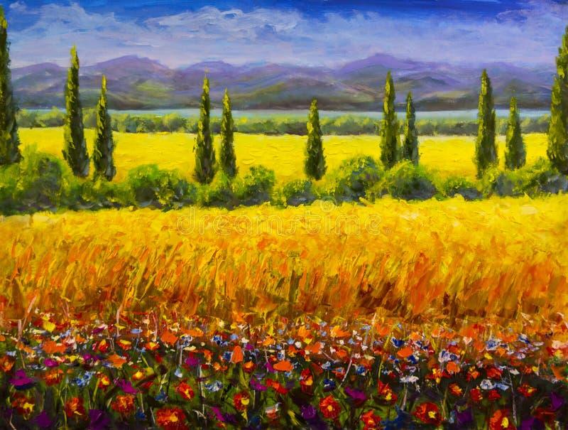 Paesaggio italiano della Toscana di estate della pittura a olio, cespugli verdi dei cipressi, campo giallo, fiori rossi, montagne immagine stock libera da diritti
