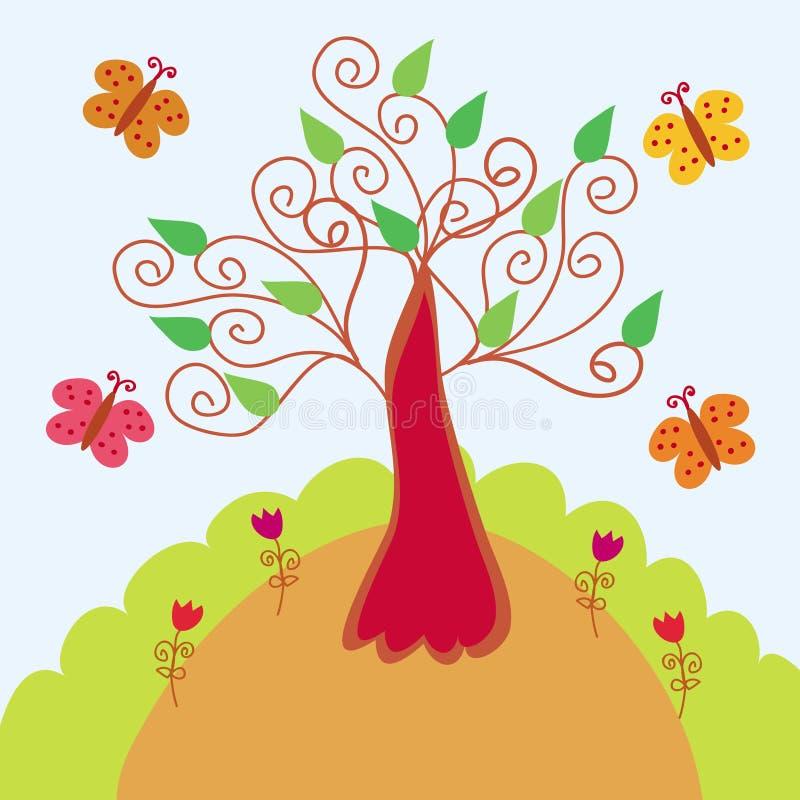 Paesaggio luminoso con l albero stilizzato illustrazione