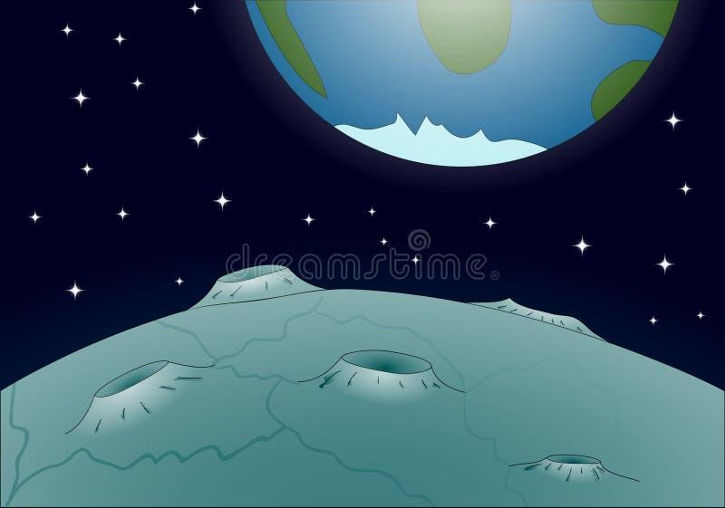 Paesaggio lunare illustrazione di stock