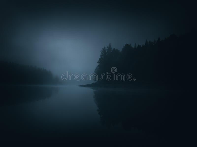 Paesaggio lunatico scuro di un lago immagini stock