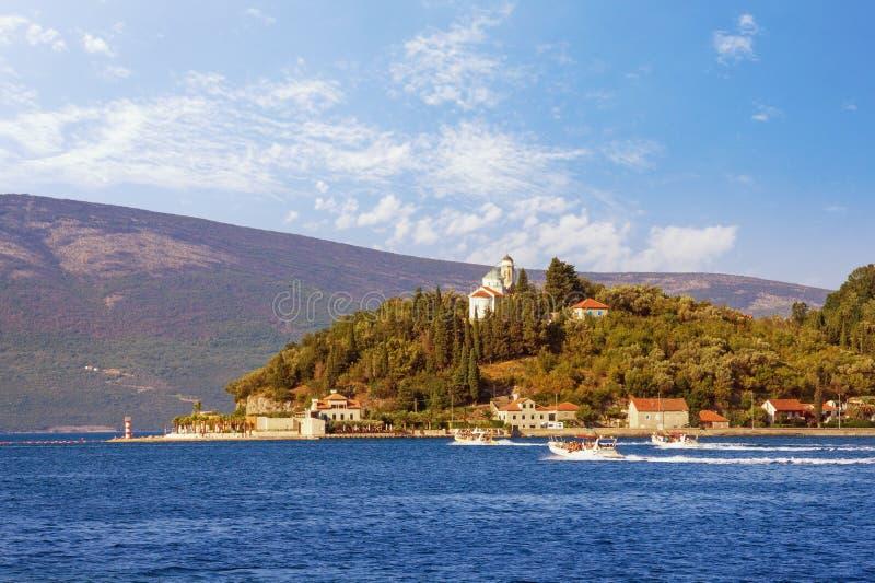 Paesaggio Mediterraneo di bella estate Il Montenegro, baia di Cattaro Vista della città di Kamenari e della chiesa di Sveta Nedje immagini stock libere da diritti