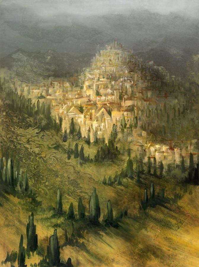 Paesaggio mediterraneo verniciato illustrazione di stock