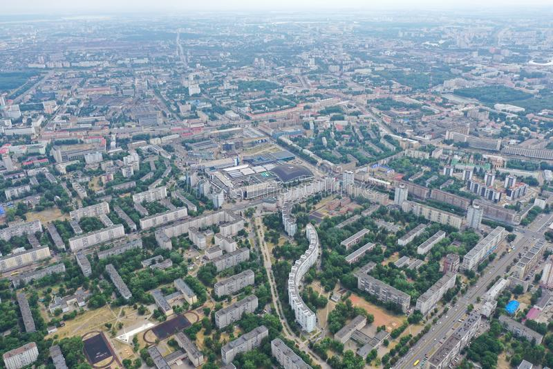 Paesaggio Minsk Bielorussia della città dell'elicottero digitale immagini stock