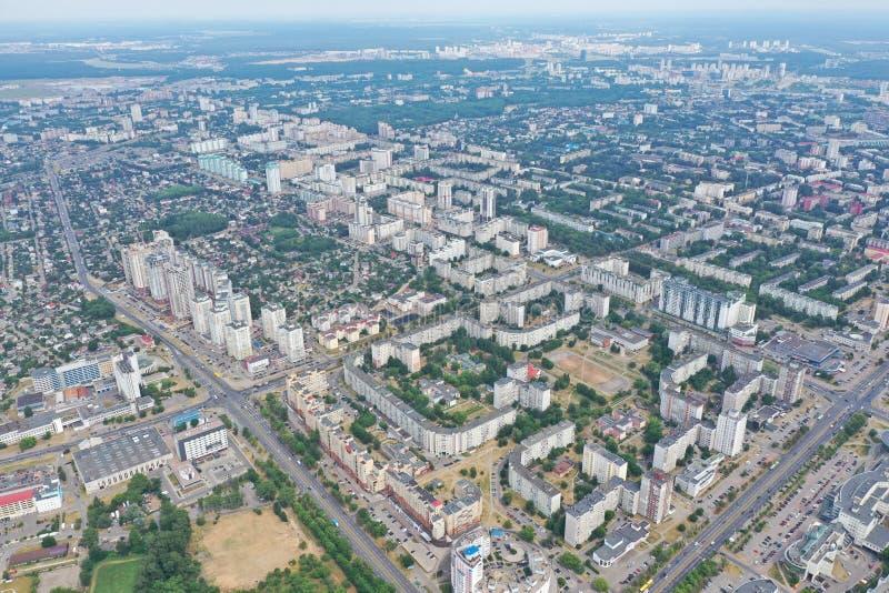 Paesaggio Minsk Bielorussia della città dell'elicottero digitale fotografie stock libere da diritti