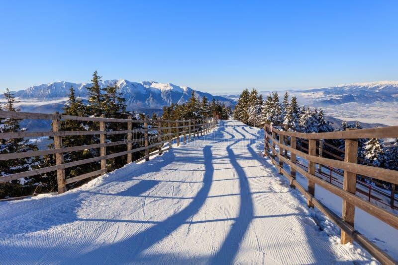 Paesaggio in montagne di Postavaru, Romania di inverno immagini stock