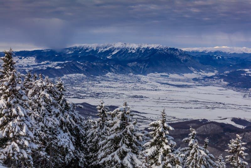 Paesaggio in montagne di Postavaru, Romania di inverno immagine stock