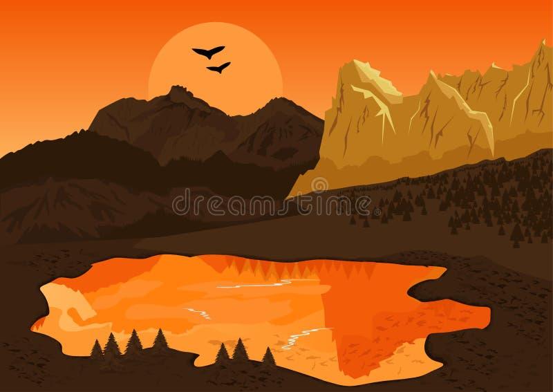 Paesaggio naturale di estate con il lago della montagna e la siluetta degli uccelli al tramonto illustrazione di stock