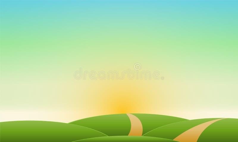 Paesaggio naturale di vettore del cielo della radura del paesaggio di estate illustrazione di stock