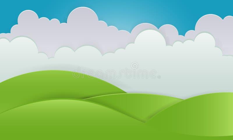 Paesaggio naturale di vettore del cielo della radura del paesaggio di estate royalty illustrazione gratis