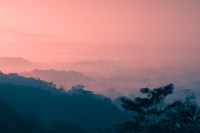 Paesaggio nebbioso della montagna e foresta all'ora dorata di alba fotografia stock libera da diritti