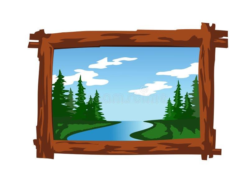 Paesaggio nel telaio di legno illustrazione vettoriale