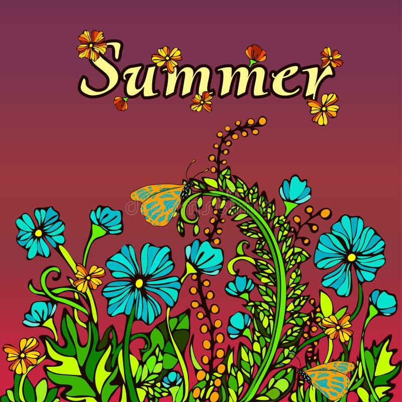 Paesaggio nell'eleganza di boho di stile, hippy, carta, copertura dell'estratto di estate illustrazione vettoriale