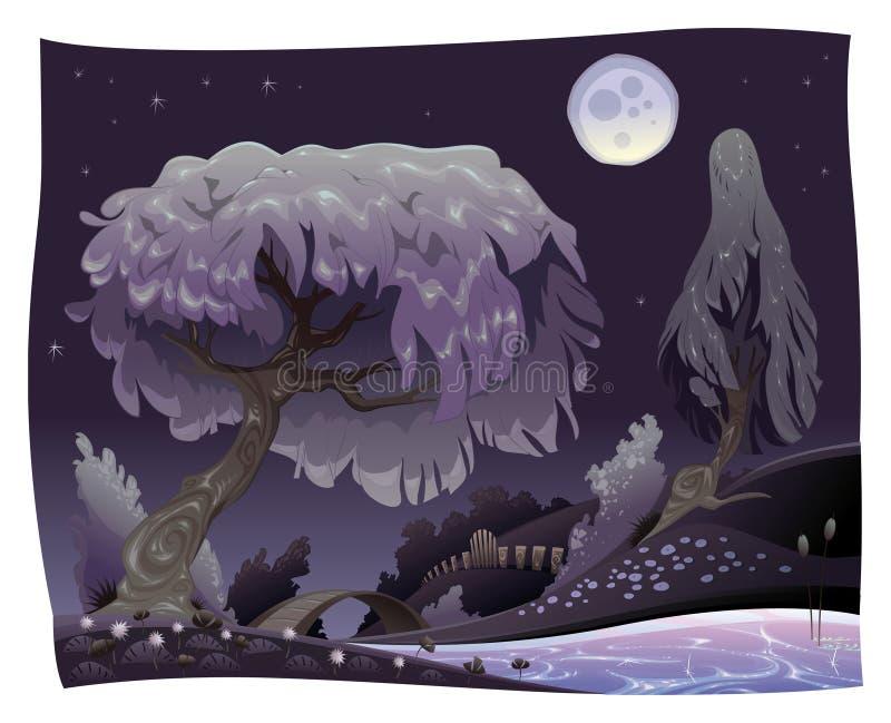 Paesaggio nella notte con il fiume. illustrazione di stock