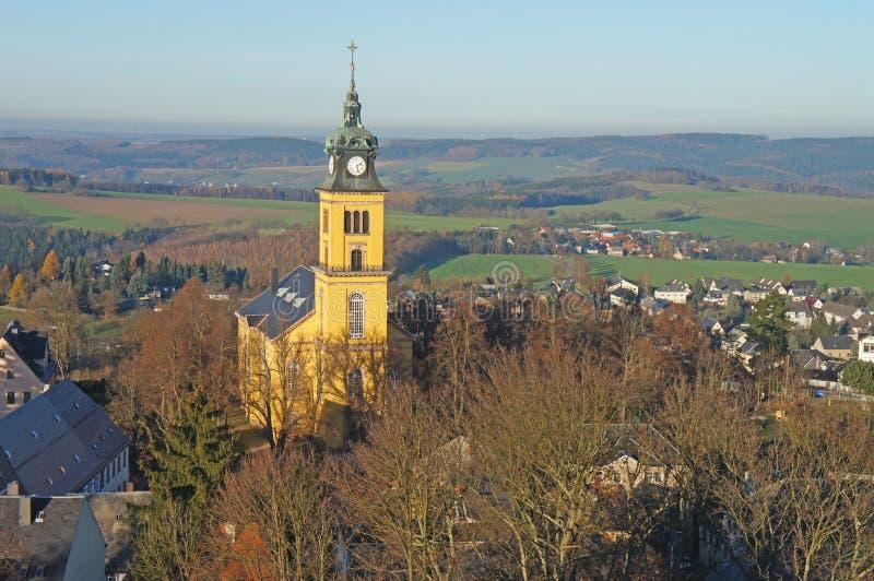Paesaggio nelle montagne del minerale metallifero, Germania fotografia stock