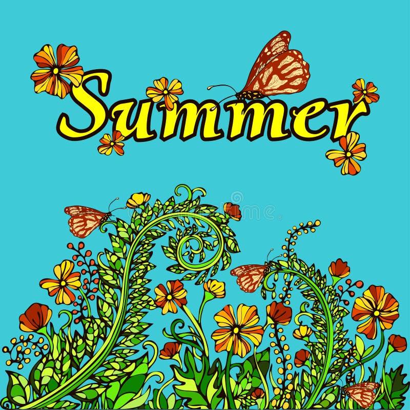 Paesaggio nello stile d'annata, carta, copertura dell'estratto di estate Fiori giallo arancione su un fondo blu Luminoso, succoso royalty illustrazione gratis