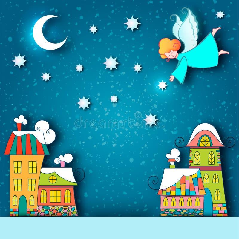 Paesaggio nevoso della città di inverno Fondo di Natale con le case di fiaba ed angelo con le stelle e la luna nel cielo alla vig illustrazione vettoriale