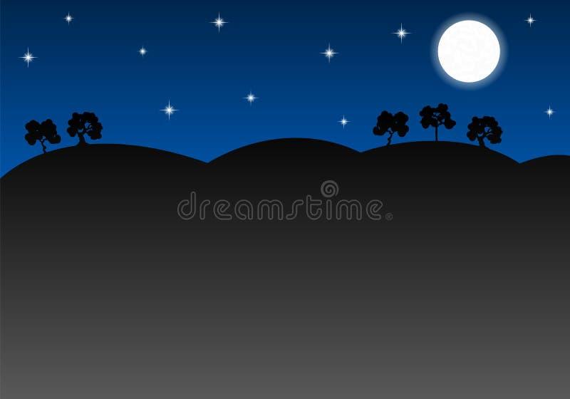 Download Paesaggio Notturno Come Fondo Con Lo Spazio Della Copia Illustrazione Vettoriale - Illustrazione di background, albero: 56885187