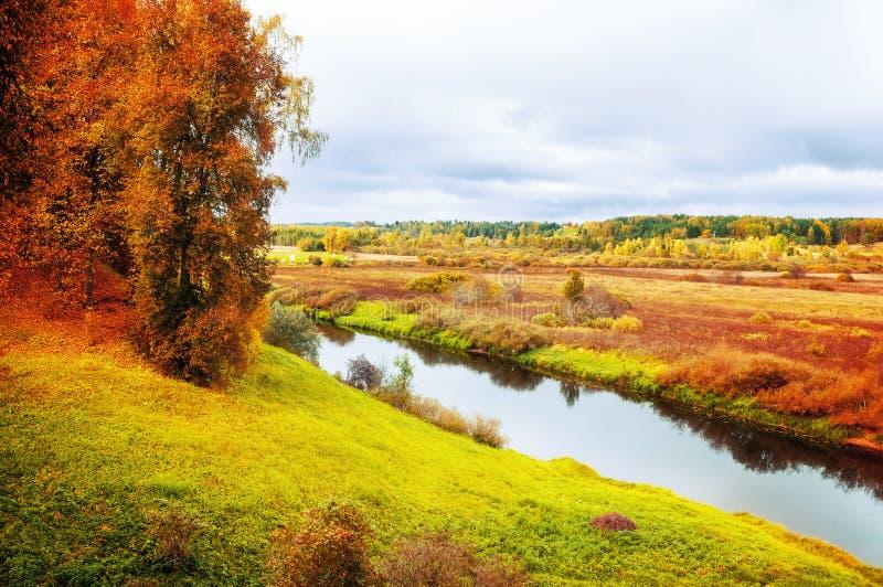 Paesaggio nuvoloso di autunno degli alberi forestali del fiume di Soroti e di autunno in Pushkinskiye sanguinoso, Russia - il fil fotografia stock libera da diritti
