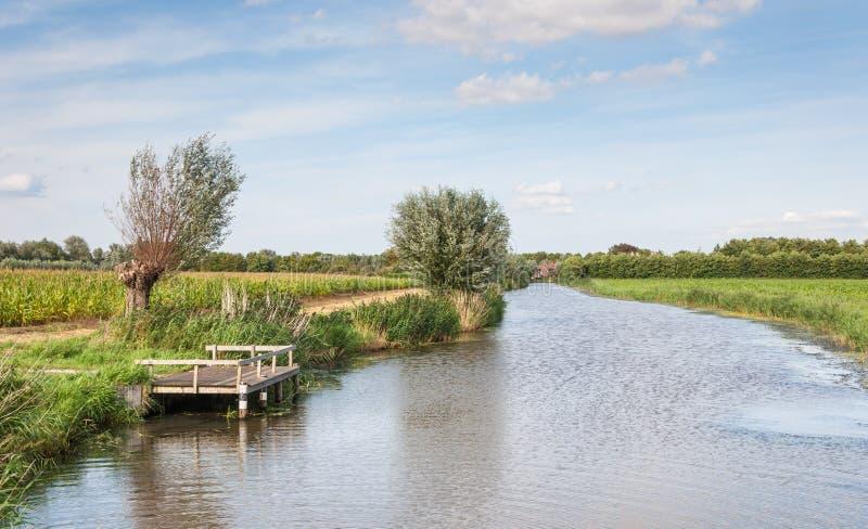 Paesaggio olandese atmosferico nell'estate immagini stock libere da diritti