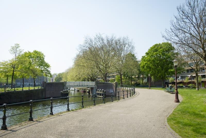 Paesaggio olandese del canale con acqua, gli alberi, l'erba e la barca fotografie stock libere da diritti