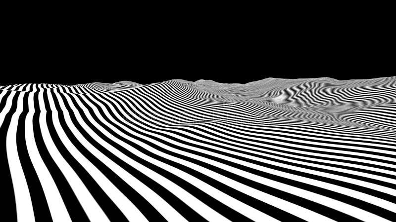 Paesaggio ondulato a strisce bianco dell'estratto Linea fondo di seno Arte op di orizzonte semplice dell'oceano con illustrazione vettoriale