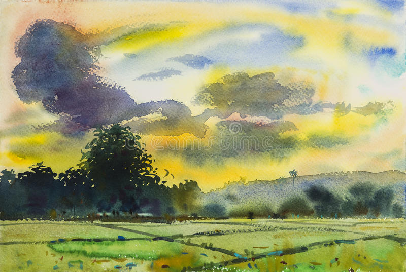 Paesaggio originale dell'acquerello che dipinge variopinto del tramonto illustrazione vettoriale