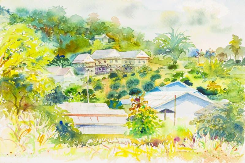 Paesaggio originale dell'acquerello che dipinge variopinto della montagna e dell'emozione royalty illustrazione gratis