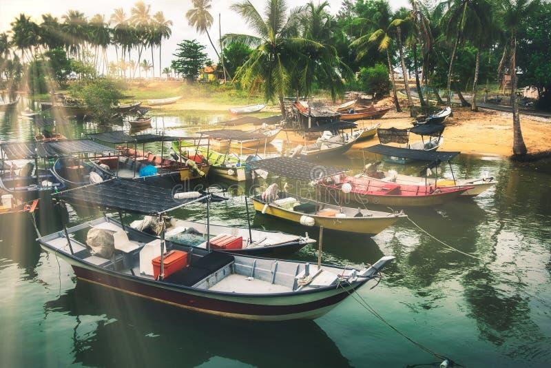 Paesaggio pacifico e bello paesaggio della natura del villaggio di Terengganu situati in Malesia immagine stock