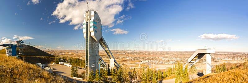 Paesaggio panoramico Calgary Alberta Prairies del parco olimpico del Canada ampio immagini stock