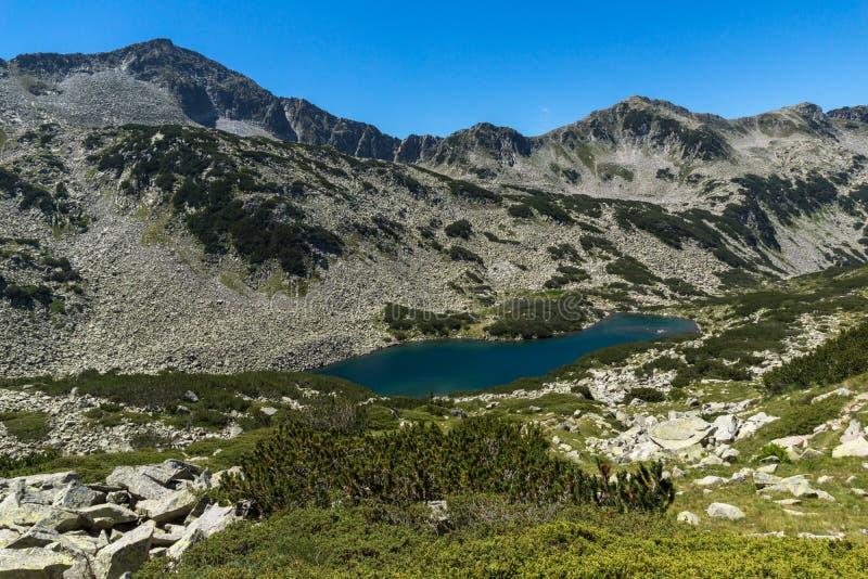 Paesaggio panoramico con Dalgoto il lago lungo, montagna di Pirin, Bulgaria immagini stock libere da diritti