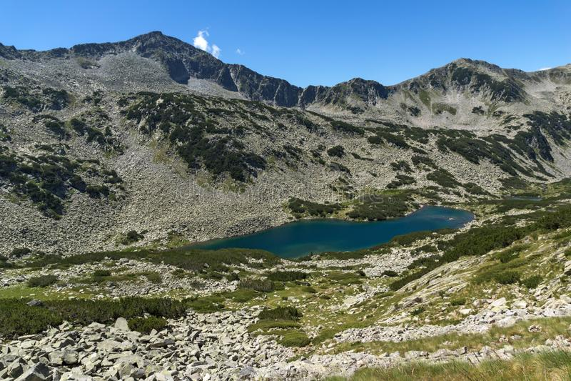 Paesaggio panoramico con Dalgoto il lago lungo, montagna di Pirin, Bulgaria fotografia stock libera da diritti