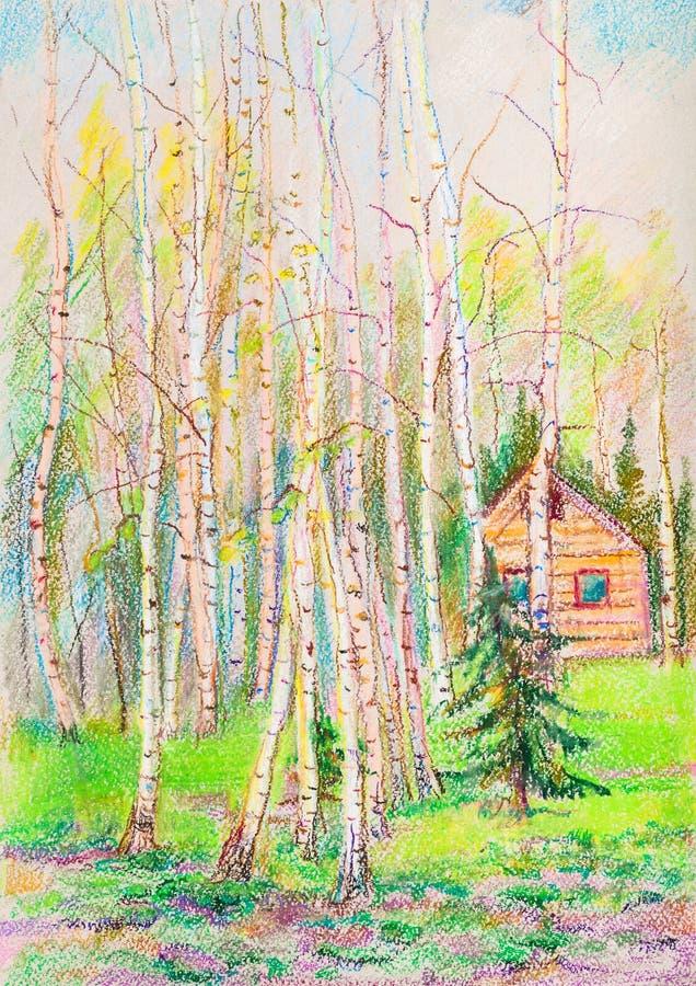 Paesaggio pastello della primavera illustrazione di stock