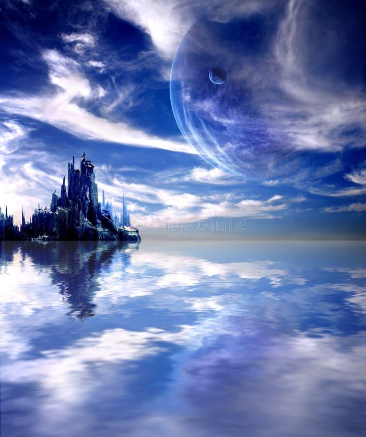 Paesaggio in pianeta di fantasia illustrazione vettoriale
